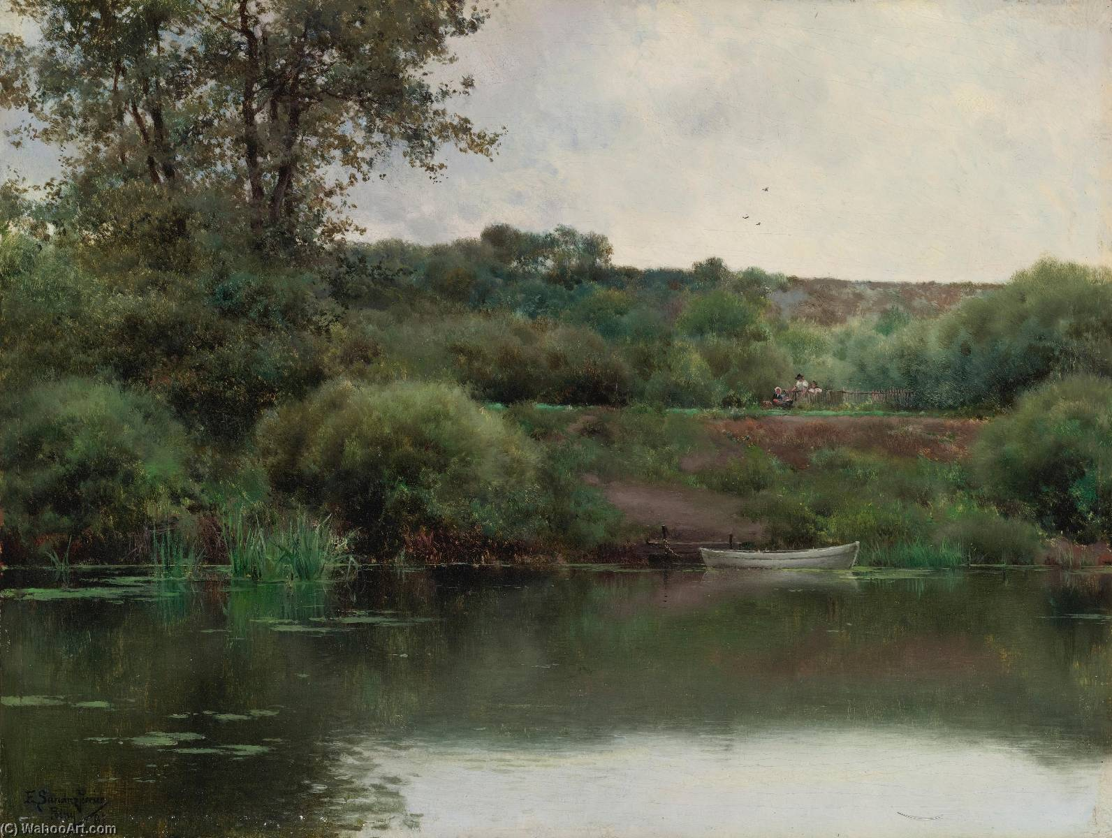 A Riverbank in Poissy, Oil On Canvas by Emilio Sanchez-Perrier (1855-1907, Spain)