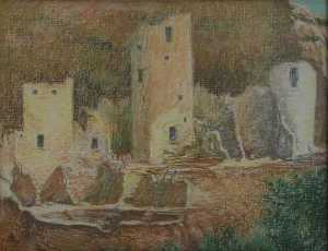 Mary Agnes Yerkes - Cliff Palace, (painting)