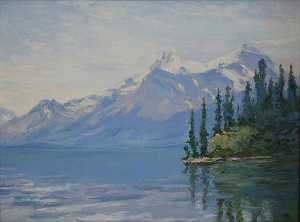 Mary Agnes Yerkes - (Lake Scene with White Capped Mountains in the Distance), (painting)