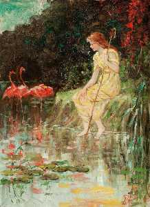 Frederick Stuart Church - Maiden with Flamingos