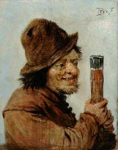 David The Younger Teniers - A Peasant Holding a Glass