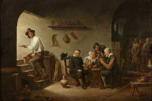David The Younger Teniers - Interior of a Tavern