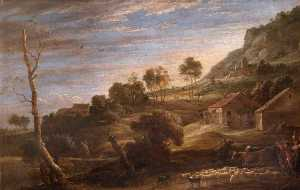 David The Younger Teniers - Landscape with Peasants Driving Cattle Evening