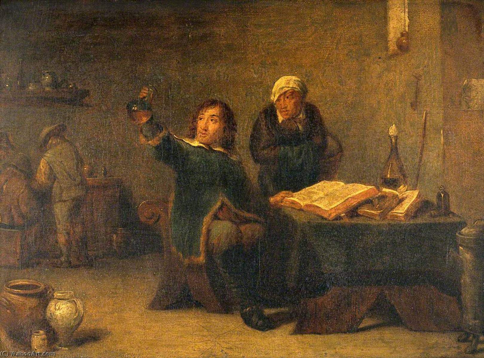 A Medical Practitioner Examining a Urine Flask by David Teniers Ii Le Jeune (1610-1690) | Art Reproductions David Teniers Ii Le Jeune | WahooArt.com