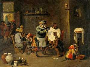 David Teniers Ii Le Jeune - A Monkey Barber Surgeon's Establishment