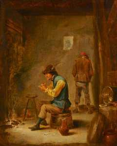 David Teniers Ii Le Jeune - A Peasant Filling His Pipe