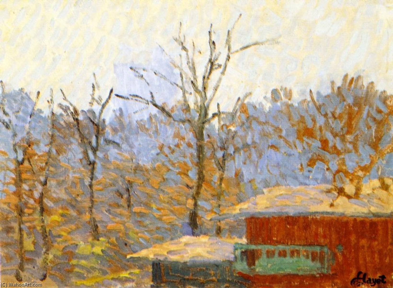 Order Art Reproduction : Landscape with Cabin, 1892 by Louis Hayet (1864-1940) | WahooArt.com