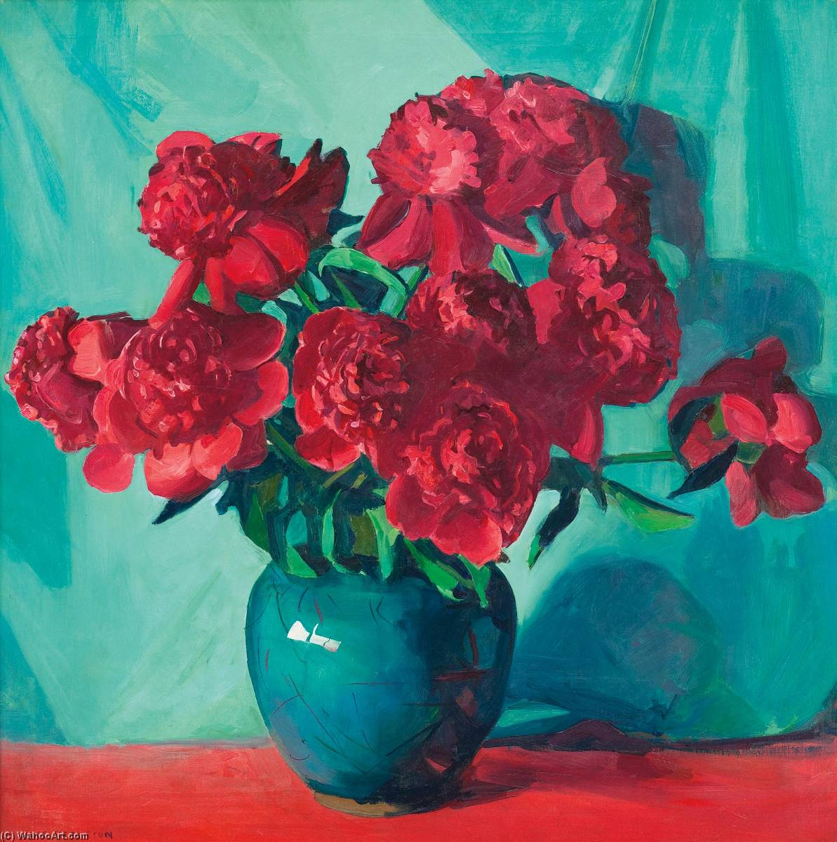 The Red Peonies by Jane Peterson (1876-1965, United States) |  | WahooArt.com