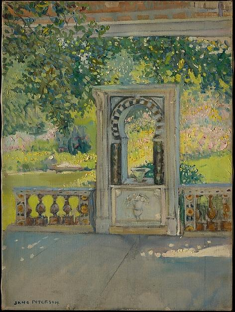 Turkish Fountain with Garden (from Louis C. Tiffany Estate, Oyster Bay), 1910 by Jane Peterson (1876-1965, United States) |  | WahooArt.com
