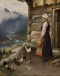 Axel Hjalmar Ender - Milkmaid with hens and a cock