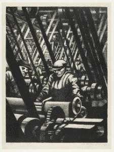 Christopher Richard Wynne Nevinson - Making the Engine from Building Aircraft