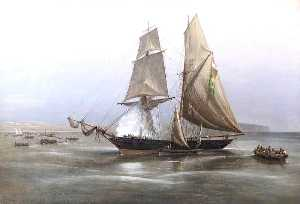 Richard Brydges Beechey - HM Brig -Philomel Capturing the Slaver, Condor , off the Coast of West Africa, 1880