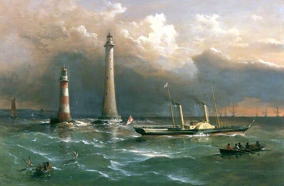 HMS `Vivid` Passing the Old and New Eddystone Lighthouses, the Channel Squadron in the Distance, 1885 by Richard Brydges Beechey (1808-1895) | Art Reproduction | WahooArt.com