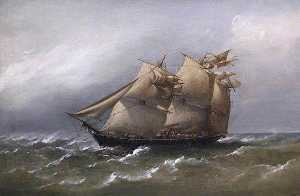 Richard Brydges Beechey - HMS Fawn Caught in a White Squall, Bass Straits, Australia