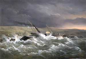 Richard Brydges Beechey - HMS Danube Blown on Shore while in Kazatch Bay, Sevastopol, Ukraine, 14 November 1854