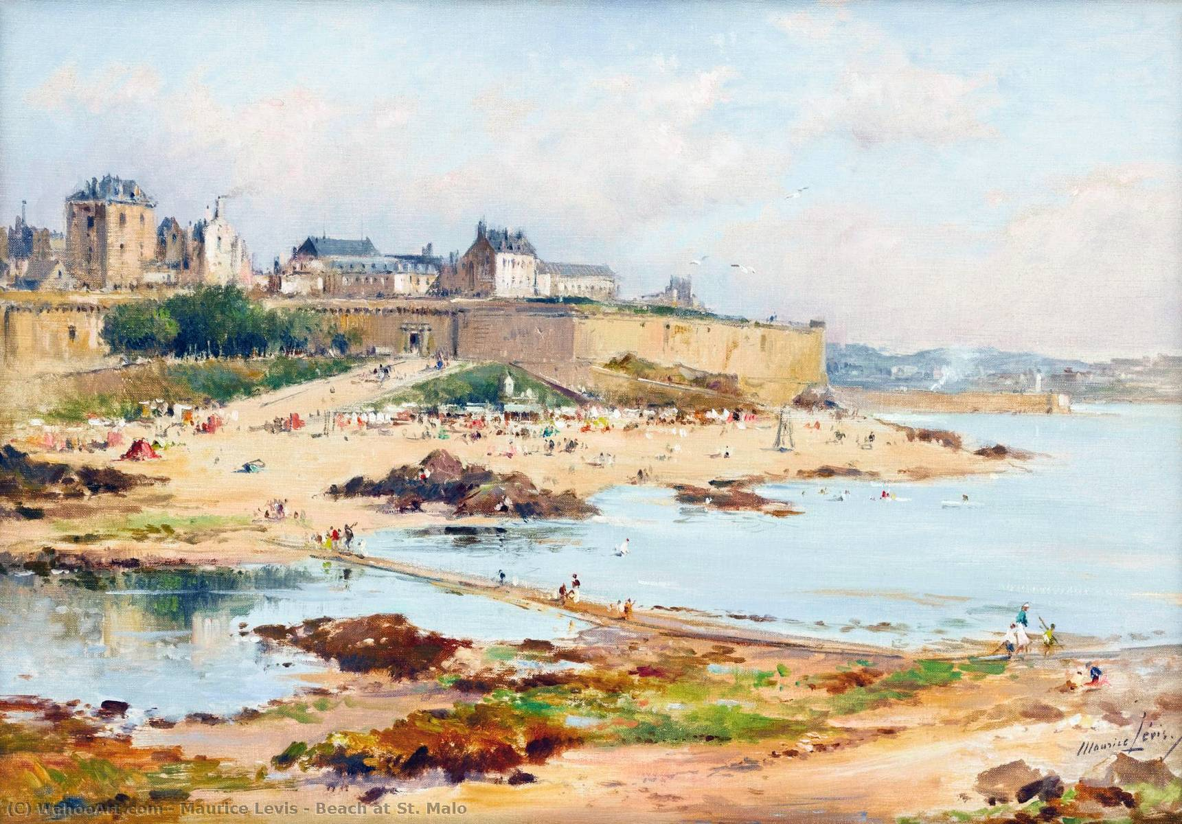 Beach at St. Malo by Maurice Levis (1860-1940) | Museum Art Reproductions Maurice Levis | WahooArt.com