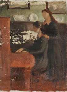 Brian Hatton - Two Girls Playing the Piano