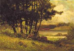 Edward Mitchell Bannister - Untitled (landscape with cows grazing near river), (painting)
