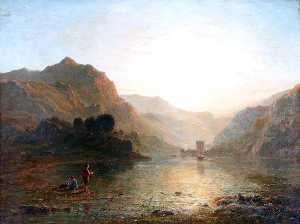 Thomas Danby - Lake and Mountain Scene with a Boy Fishing