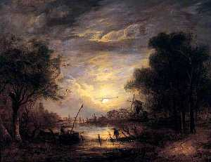 John Berney Crome - Fishing by Moonlight at Sanderdorf, near the Brille, The Netherlands