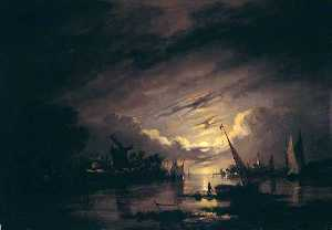 John Berney Crome - Moonlight