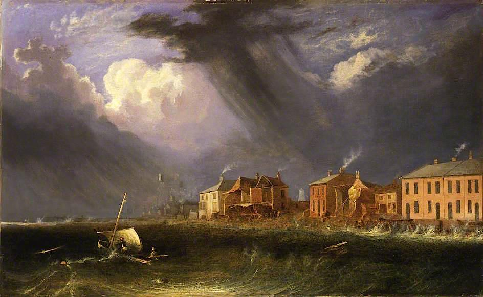 Great Gale at Yarmouth on Ash Wednesday, 1836 by John Berney Crome (1768-1821) | Art Reproductions John Berney Crome | WahooArt.com