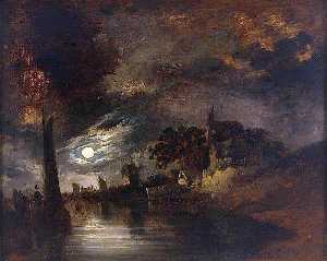 John Berney Crome - Moonlight on the River at Norwich