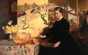 James Cadenhead - Lady with a Japanese Screen and Goldfish
