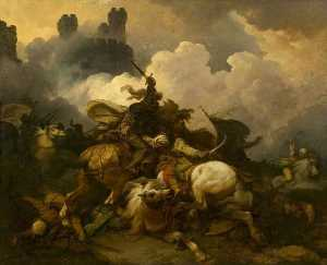 Philip Jacques De Loutherbourg - The Battle between Richard Coeur de Lion and Saladin in Palestine