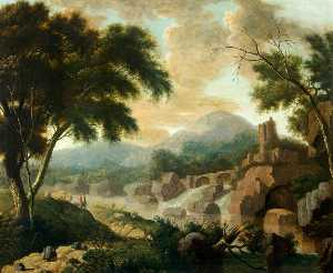 Philip Jacques De Loutherbourg - Landscape with Raging River