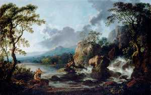 Philip Jacques De Loutherbourg - Landscape, Fishermen by a Waterfall