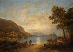 Augustus Wall Callcott - On an Italian Lake (Garda )