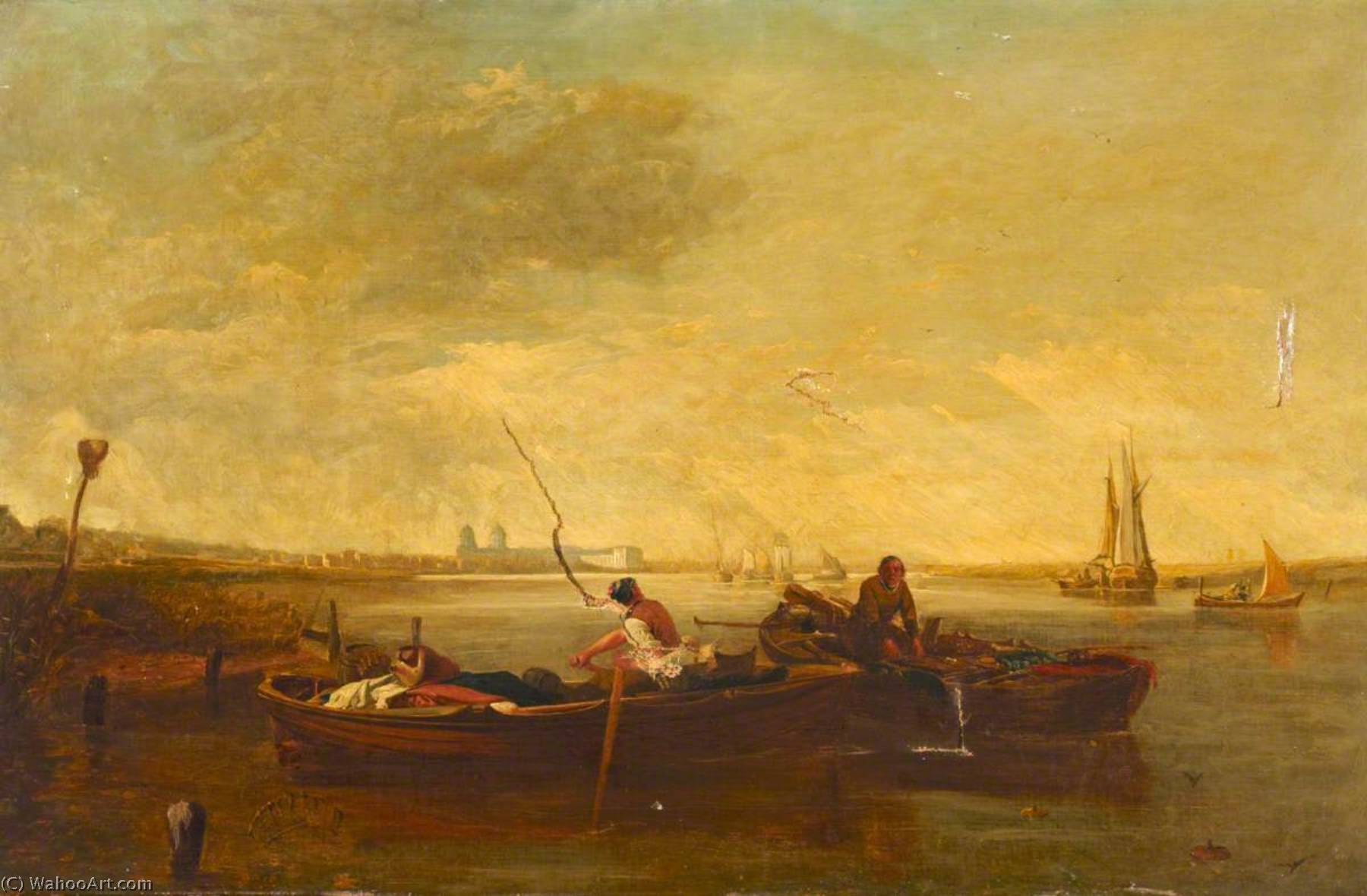 River Thames to the West, with the Isle of Dogs, Oil On Canvas by ...