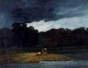 Augustus Wall Callcott - Landscape A Wood and Cattle under a Stormy Sky