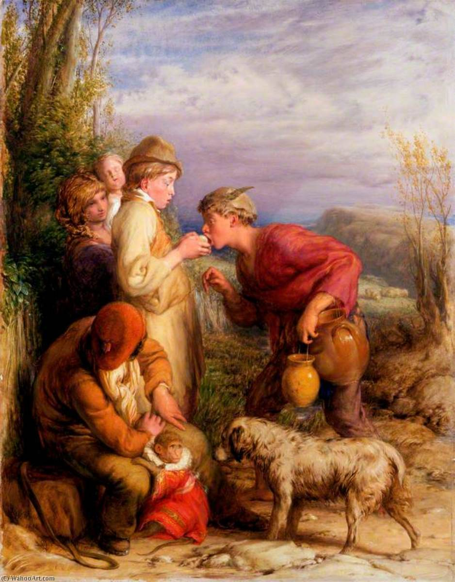 Giving a Bite, 1834 by William Mulready The Younger (1786-1863, Ireland) | Art Reproductions William Mulready The Younger | WahooArt.com