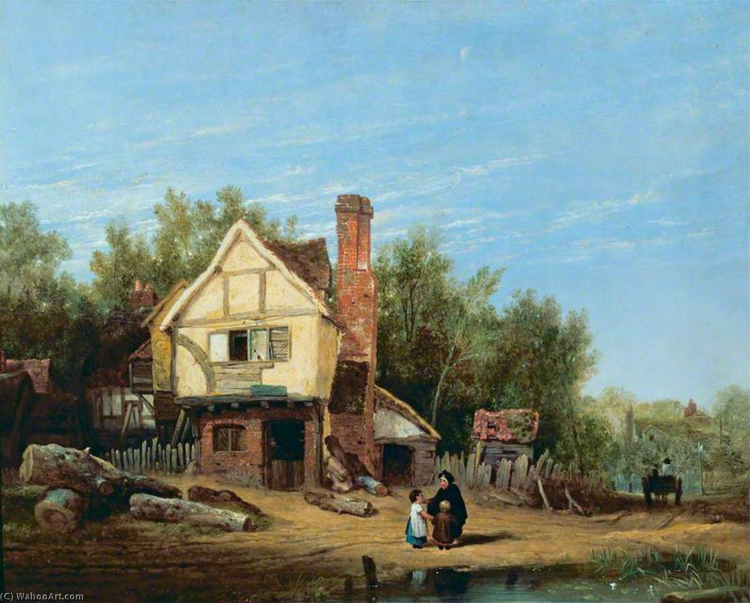 Landscape with Cottages, 1812 by William Mulready The Younger (1786-1863, Ireland) | Famous Paintings Reproductions | WahooArt.com