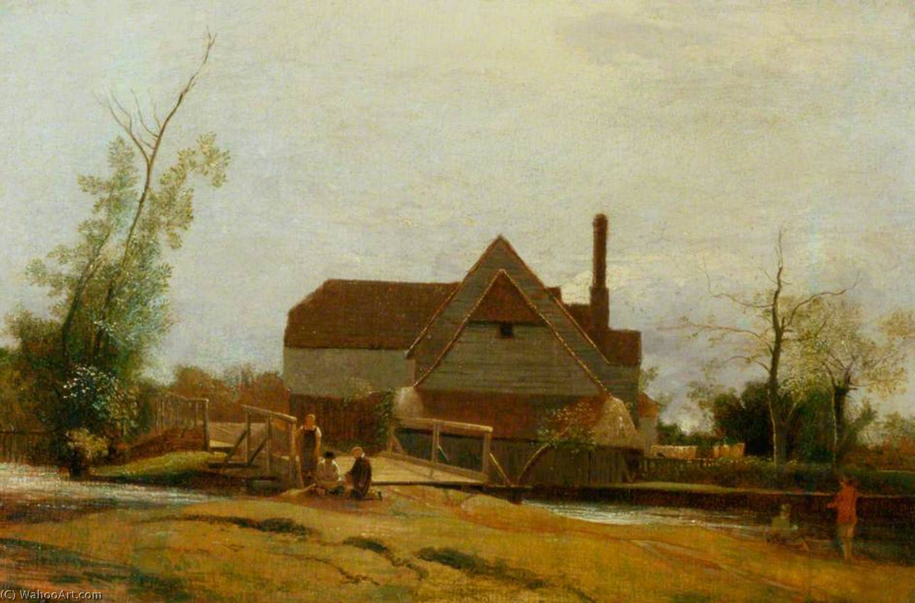 Suffolk Landscape with Mill, Oil On Canvas by William Mulready The Younger (1786-1863, Ireland)