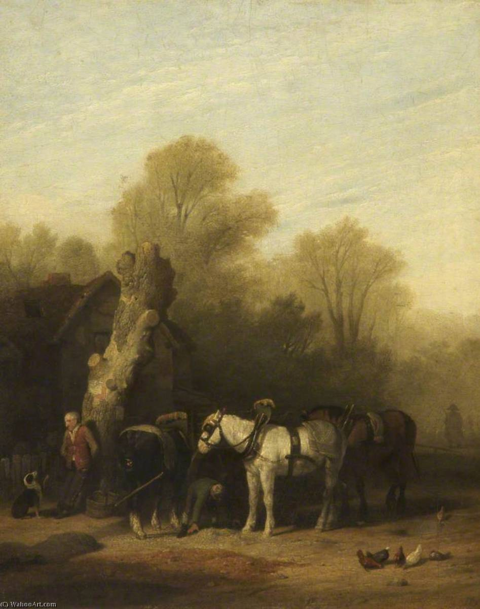 Horses Baiting, Oil by William Mulready The Younger (1786-1863, Ireland)