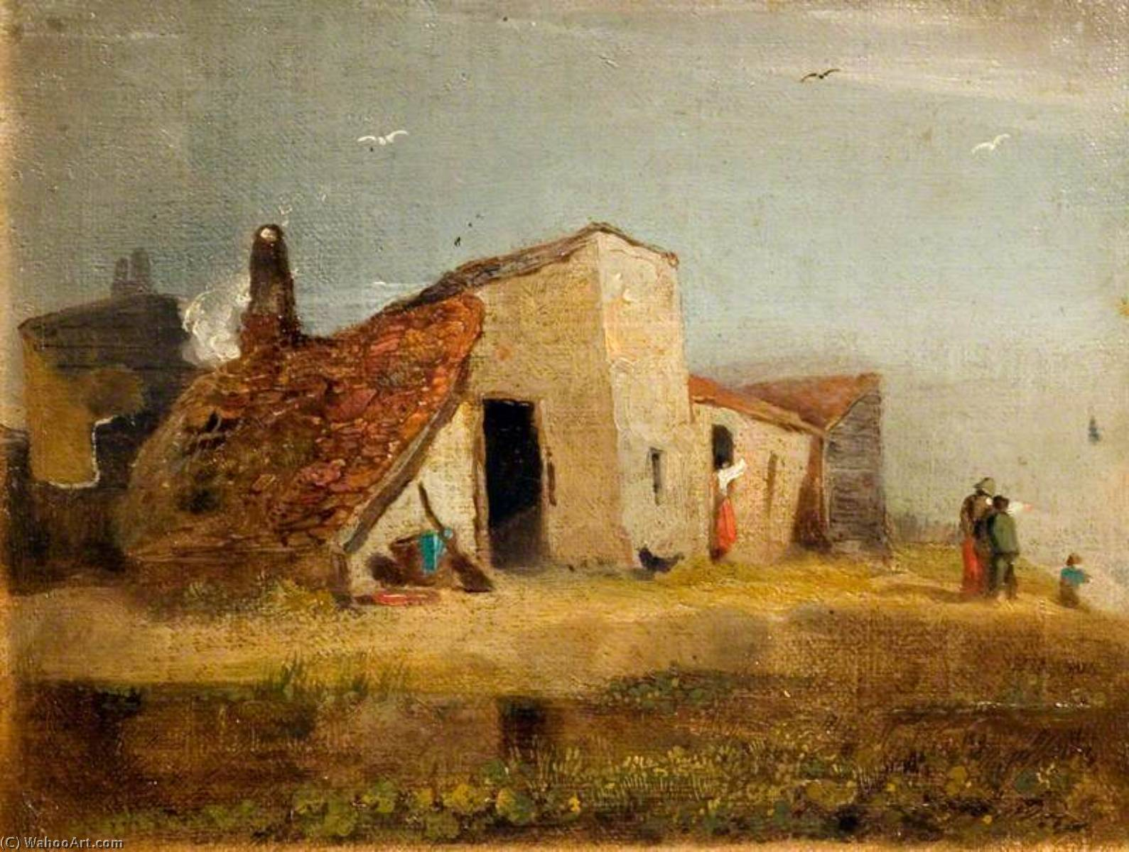 Cottages on the Coast, Oil by William Mulready The Younger (1786-1863, Ireland)