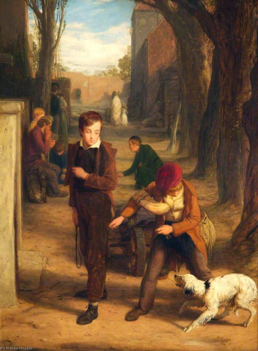 A Dog of Two Minds, Oil On Panel by William Mulready The Younger (1786-1863, Ireland)