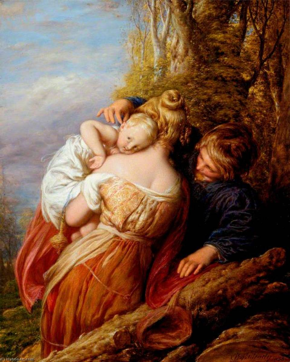 Brother and Sister, Oil On Panel by William Mulready The Younger (1786-1863, Ireland)