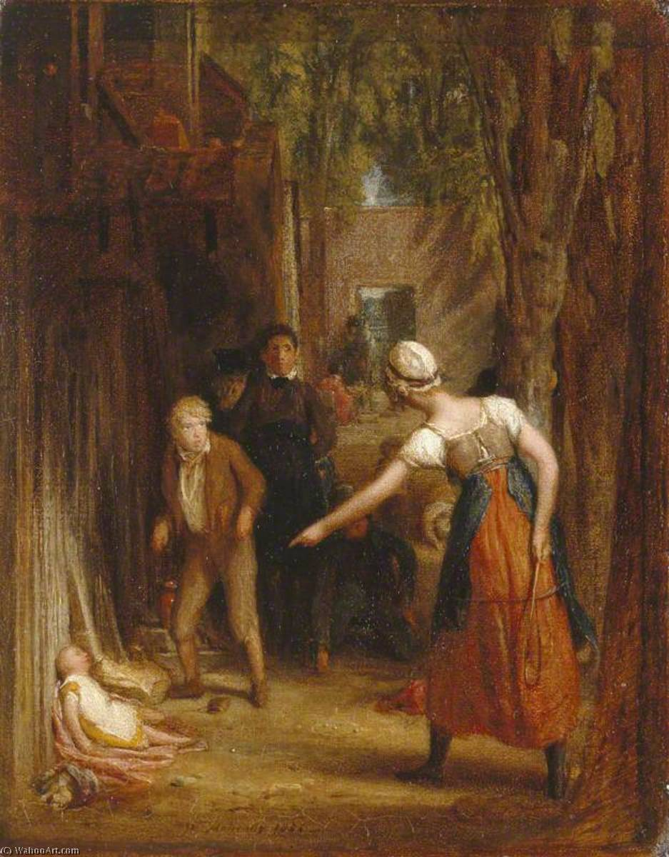 Study for 'The Careless Messenger Detected', Oil On Canvas by William Mulready The Younger (1786-1863, Ireland)
