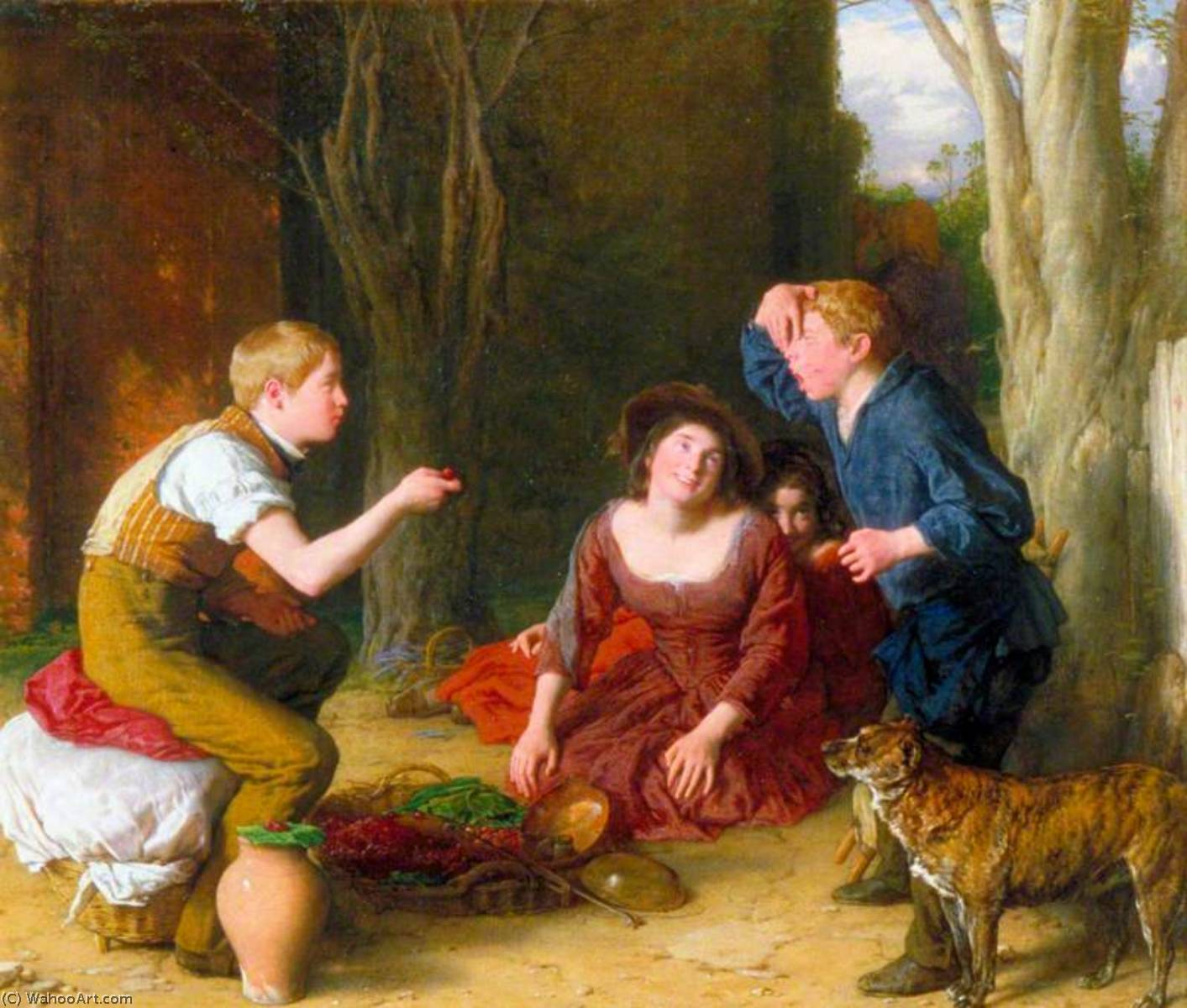 The Butt Shooting a Cherry, Oil On Canvas by William Mulready The Younger (1786-1863, Ireland)