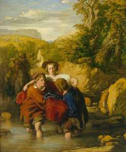 William Mulready The Younger - The Ford ('Crossing the Ford')
