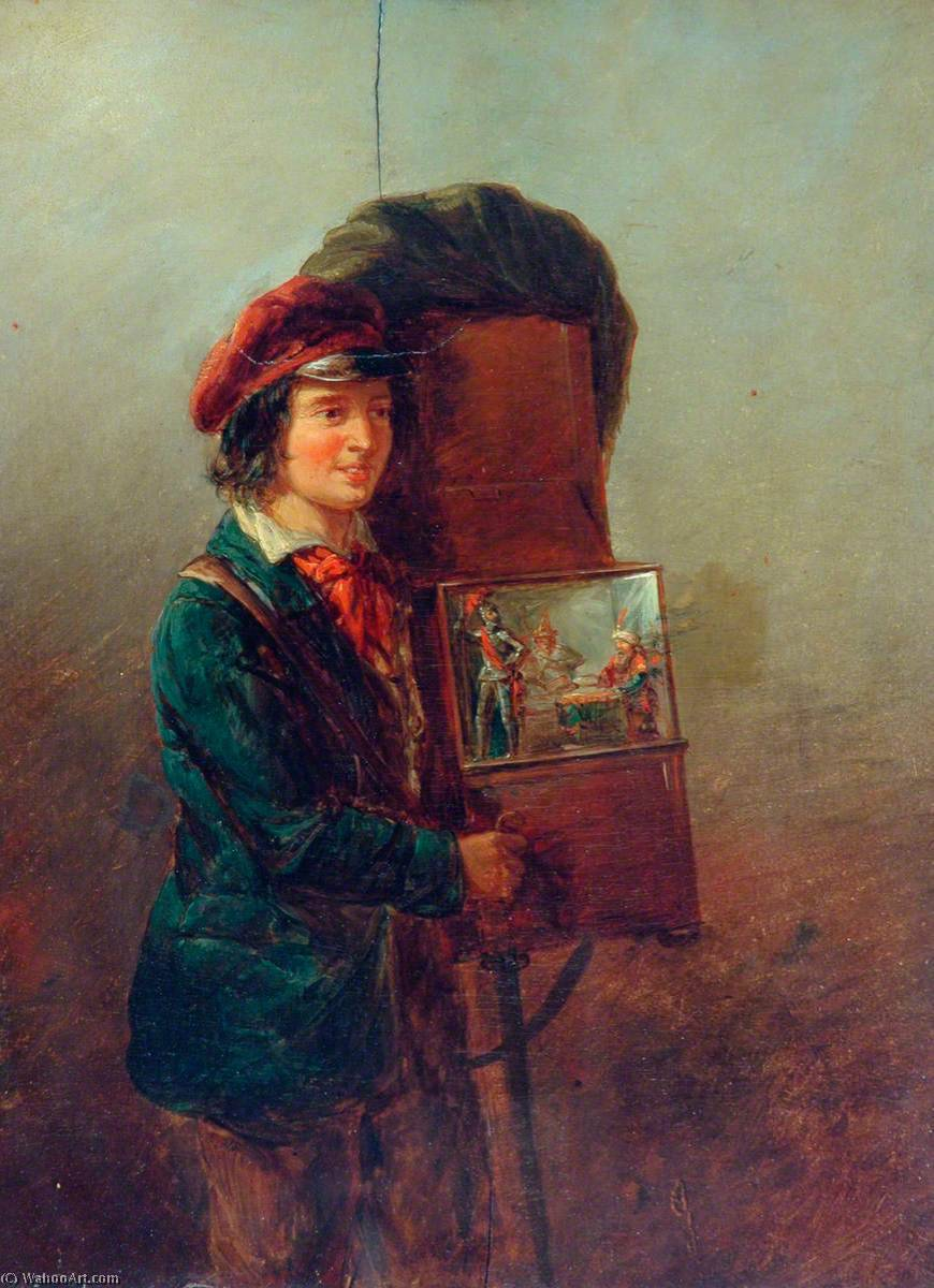 The Organ Grinder, Oil On Panel by William Mulready The Younger (1786-1863, Ireland)
