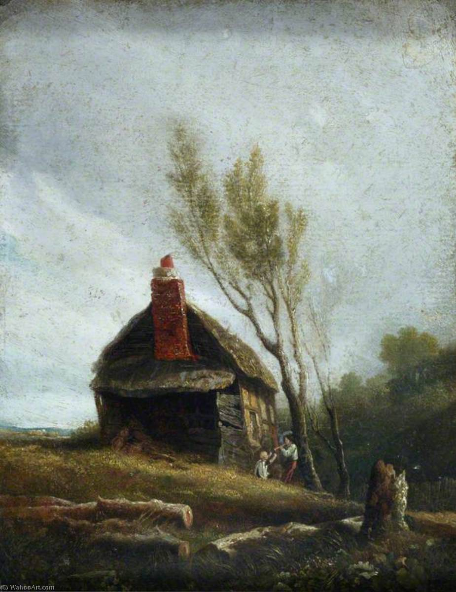 Landscape A Cottage with Trees and Two Children, Oil by William Mulready The Younger (1786-1863, Ireland)