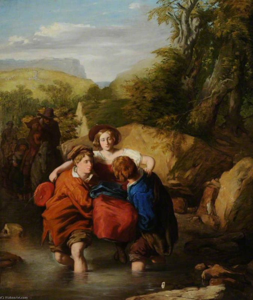 Crossing the Ford, Oil On Canvas by William Mulready The Younger (1786-1863, Ireland)