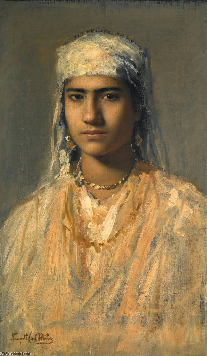 An Egyptian Girl, Oil On Canvas by Leopold Carl Müller (1834-1892)