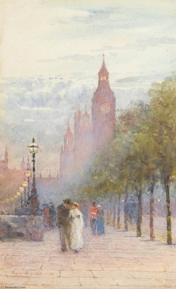Houses of Parliament and Westminster, Watercolour by Rose Maynard Barton (1856-1930, Ireland)