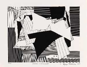Esphyr Slobodkina - Variation in Black and White, from the American Abstract Artists 50th Anniversary Print Portfolio 1987